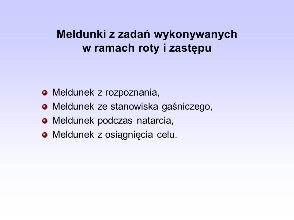 Meldunki z zadań wykonywanych w ramach roty i zastępu Meldunek z rozpoznania, Meldunek ze stanowiska gaśniczego, Meldunek podczas natarcia, Meldunek z