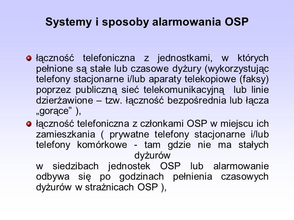 Systemy i sposoby alarmowania OSP łączność radiotelefoniczna (na przyznanym kanale pracy) w czasie prowadzenia przez jednostkę OSP nasłuchu radiowego, system selektywnego wywołania uruchamiający (drogą radiową) syrenę alarmową w siedzibie OSP (np.: Zintegrowany System Alarmowania i Ochrony Ludności DSP-50), radiowe systemy przywoławcze (np.: DSP 21, 25 lub 26), terminale GSM współpracujące z systemami selektywnego wywołania.