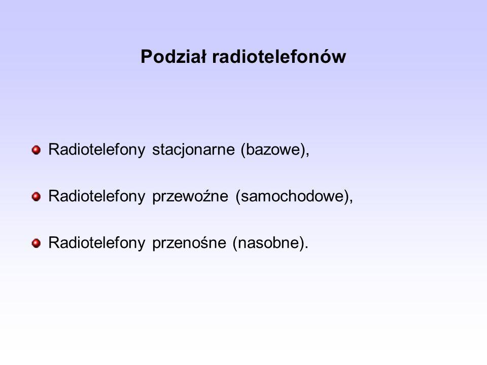 Podział radiotelefonów Radiotelefony stacjonarne (bazowe), Radiotelefony przewoźne (samochodowe), Radiotelefony przenośne (nasobne).