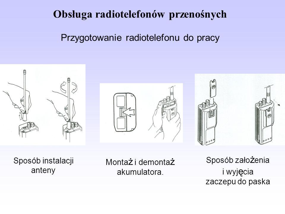Obsługa radiotelefonów przenośnych Przygotowanie radiotelefonu do pracy Sposób instalacji anteny Monta ż i demonta ż akumulatora. Sposób zało ż enia i
