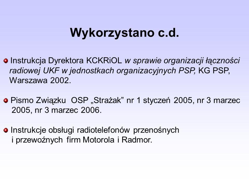Wykorzystano c.d. Instrukcja Dyrektora KCKRiOL w sprawie organizacji łączności radiowej UKF w jednostkach organizacyjnych PSP, KG PSP, Warszawa 2002.