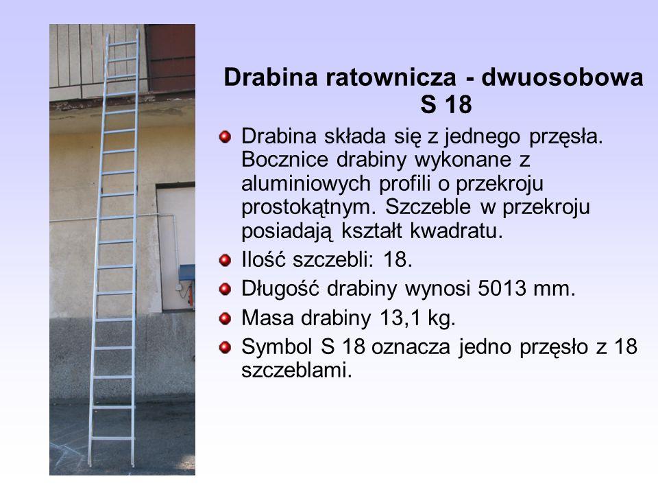 Drabina ratownicza - dwuosobowa S 18 Drabina składa się z jednego przęsła. Bocznice drabiny wykonane z aluminiowych profili o przekroju prostokątnym.