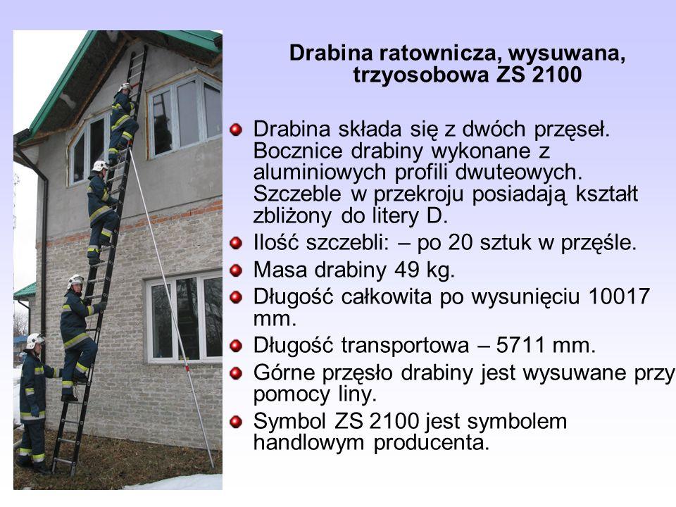Drabina ratownicza, wysuwana, trzyosobowa ZS 2100 Drabina składa się z dwóch przęseł. Bocznice drabiny wykonane z aluminiowych profili dwuteowych. Szc