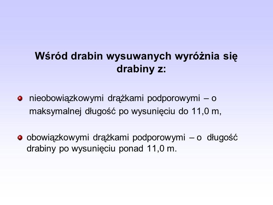 Wśród drabin wysuwanych wyróżnia się drabiny z: nieobowiązkowymi drążkami podporowymi – o maksymalnej długość po wysunięciu do 11,0 m, obowiązkowymi d