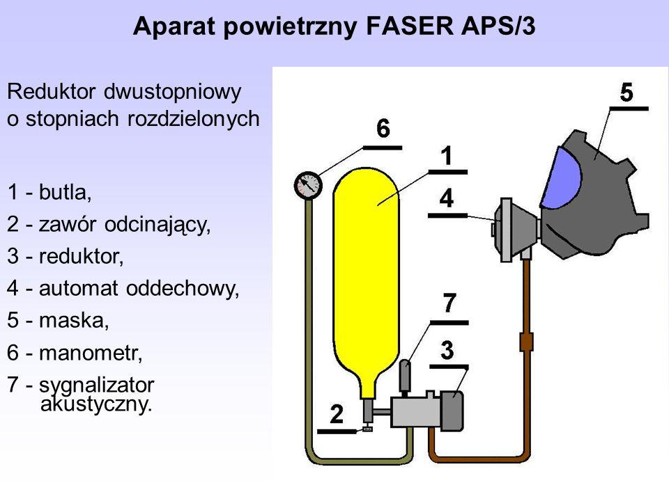 Aparat powietrzny FASER APS/3 Reduktor dwustopniowy o stopniach rozdzielonych 1 - butla, 2 - zawór odcinający, 3 - reduktor, 4 - automat oddechowy, 5