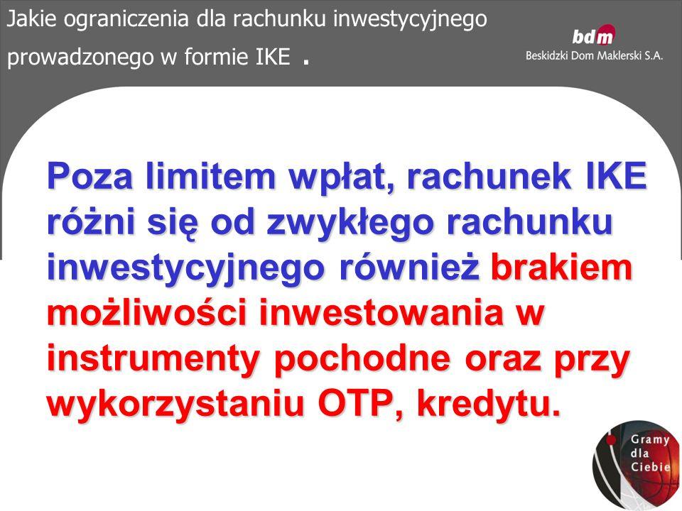 Jakie ograniczenia dla rachunku inwestycyjnego prowadzonego w formie IKE.
