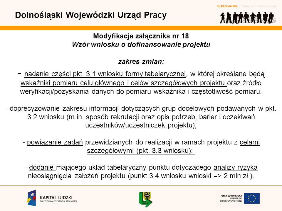 Dolnośląski Wojewódzki Urząd Pracy Modyfikacja załącznika nr 18 Wzór wniosku o dofinansowanie projektu zakres zmian: - nadanie części pkt.