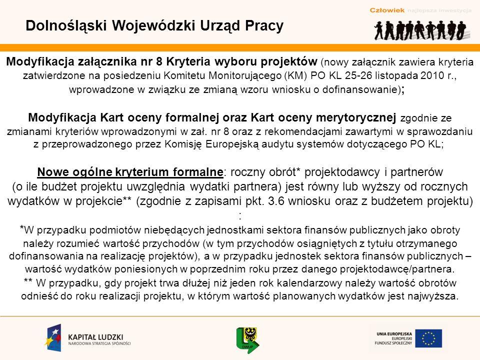 Dolnośląski Wojewódzki Urząd Pracy Modyfikacja załącznika nr 8 Kryteria wyboru projektów (nowy załącznik zawiera kryteria zatwierdzone na posiedzeniu Komitetu Monitorującego (KM) PO KL 25-26 listopada 2010 r., wprowadzone w związku ze zmianą wzoru wniosku o dofinansowanie) ; Modyfikacja Kart oceny formalnej oraz Kart oceny merytorycznej zgodnie ze zmianami kryteriów wprowadzonymi w zał.