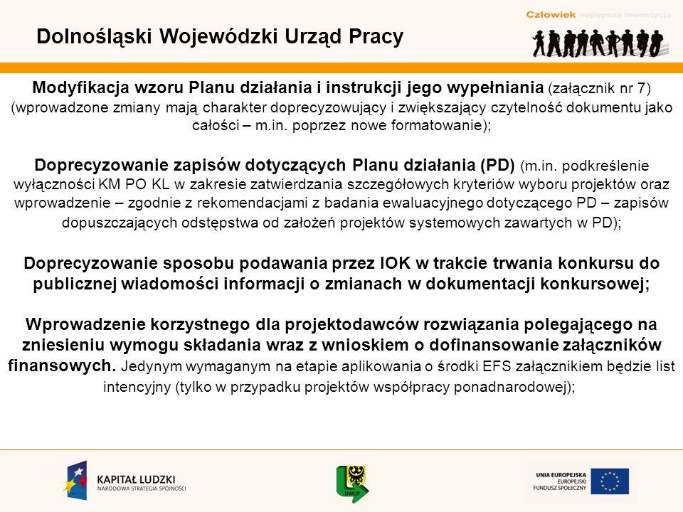Dolnośląski Wojewódzki Urząd Pracy Modyfikacja wzoru Planu działania i instrukcji jego wypełniania (załącznik nr 7) (wprowadzone zmiany mają charakter doprecyzowujący i zwiększający czytelność dokumentu jako całości – m.in.