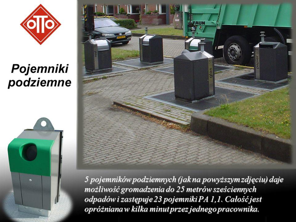 5 pojemników podziemnych (jak na powyższym zdjęciu) daje możliwość gromadzenia do 25 metrów sześciennych odpadów i zastępuje 23 pojemniki PA 1,1. Cało