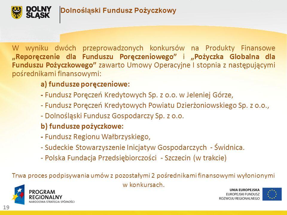 19 Dolnośląski Fundusz Pożyczkowy W wyniku dwóch przeprowadzonych konkursów na Produkty Finansowe Reporęczenie dla Funduszu Poręczeniowego i Pożyczka Globalna dla Funduszu Pożyczkowego zawarto Umowy Operacyjne I stopnia z następującymi pośrednikami finansowymi: a) fundusze poręczeniowe: - Fundusz Poręczeń Kredytowych Sp.