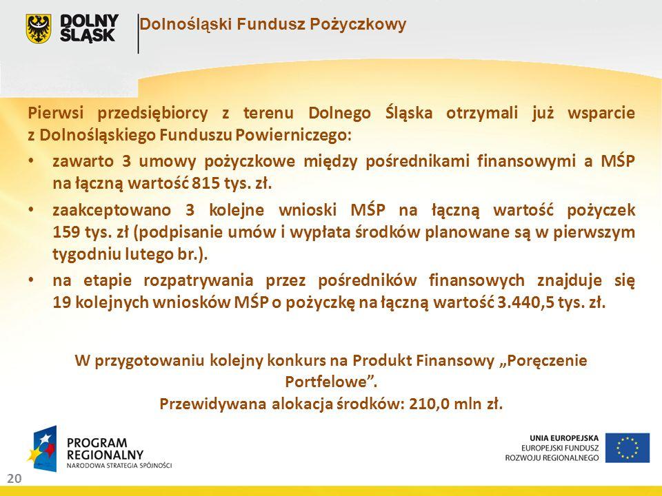 20 Dolnośląski Fundusz Pożyczkowy Pierwsi przedsiębiorcy z terenu Dolnego Śląska otrzymali już wsparcie z Dolnośląskiego Funduszu Powierniczego: zawar