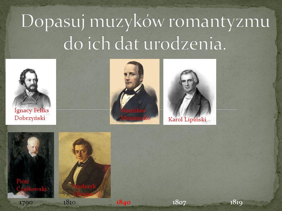 Stanisław Moniuszko Fryderyk Chopin Piotr Czajkowski Ignacy Feliks Dobrzyński Karol Lipiński 17901810181918071840