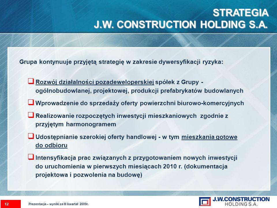 STRATEGIA J.W. CONSTRUCTION HOLDING S.A. Grupa kontynuuje przyjętą strategię w zakresie dywersyfikacji ryzyka: Rozwój działalności pozadeweloperskiej