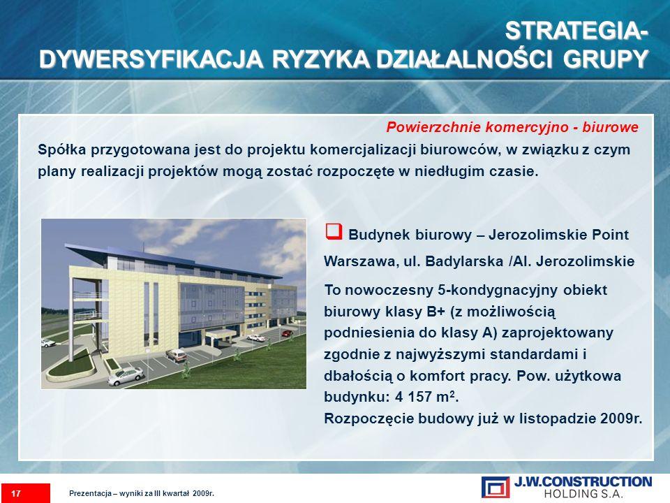 Powierzchnie komercyjno - biurowe 17 STRATEGIA- DYWERSYFIKACJA RYZYKA DZIAŁALNOŚCI GRUPY Prezentacja – wyniki za III kwartał 2009r. Spółka przygotowan