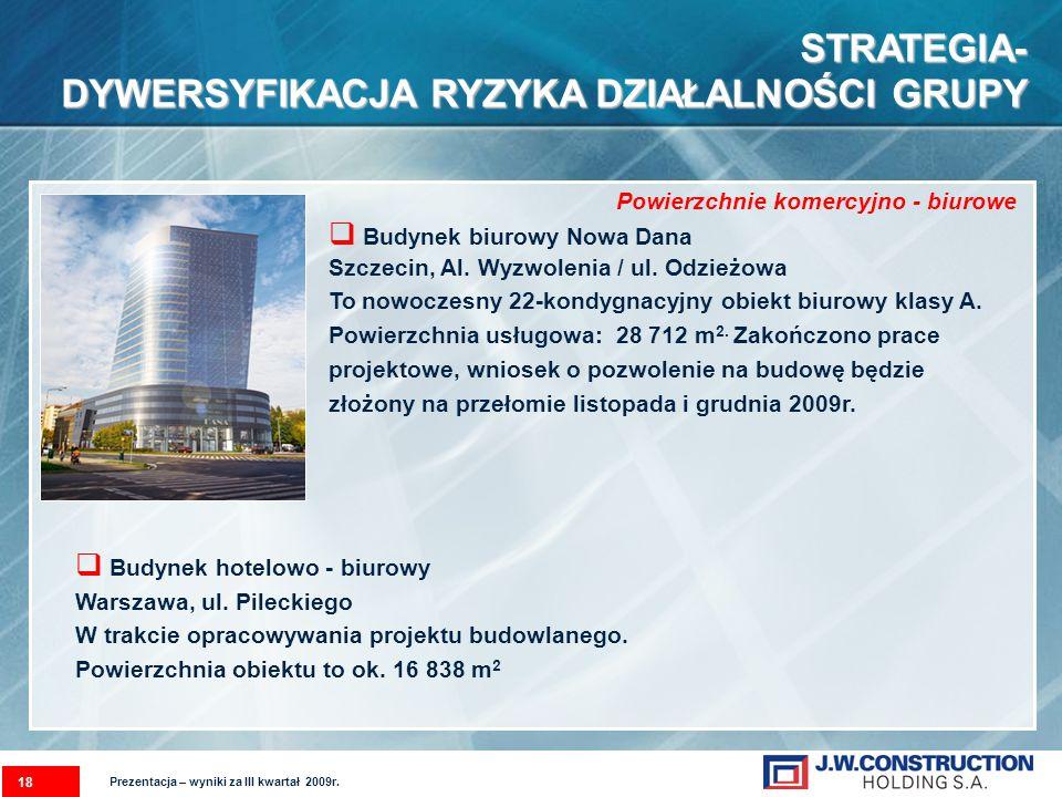 Budynek biurowy Nowa Dana Szczecin, Al. Wyzwolenia / ul. Odzieżowa To nowoczesny 22-kondygnacyjny obiekt biurowy klasy A. Powierzchnia usługowa: 28 71