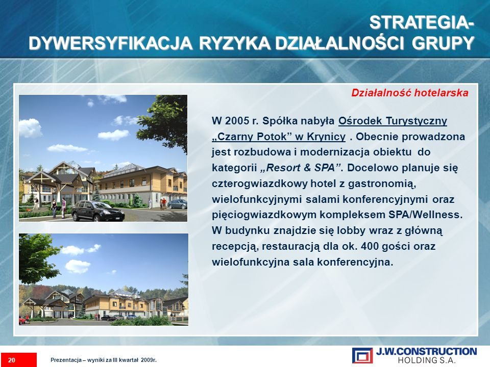 W 2005 r. Spółka nabyła Ośrodek Turystyczny Czarny Potok w Krynicy. Obecnie prowadzona jest rozbudowa i modernizacja obiektu do kategorii Resort & SPA