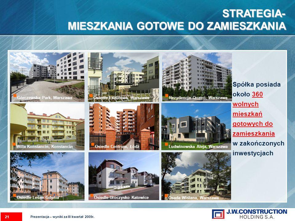 STRATEGIA- MIESZKANIA GOTOWE DO ZAMIESZKANIA Spółka posiada około 360 wolnych mieszkań gotowych do zamieszkania w zakończonych inwestycjach 21 Osiedle