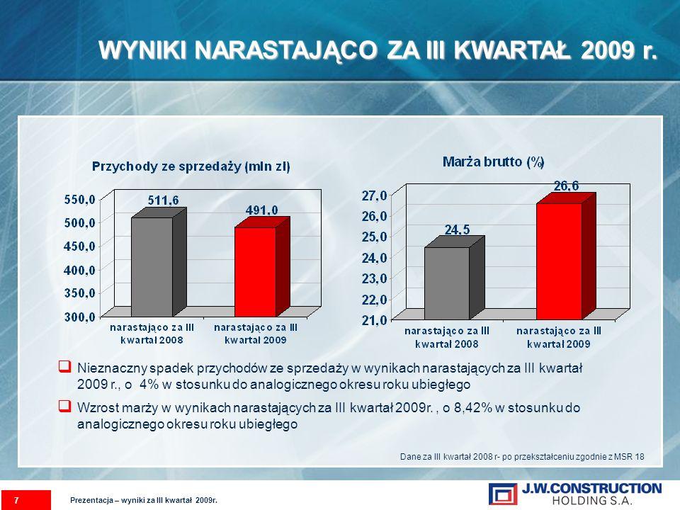 WYNIKI NARASTAJĄCO ZA III KWARTAŁ 2009 r. 7 Nieznaczny spadek przychodów ze sprzedaży w wynikach narastających za III kwartał 2009 r., o 4% w stosunku