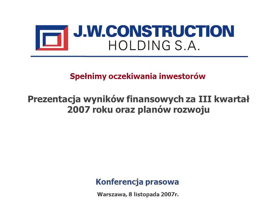 Konferencja prasowa Prezentacja wyników finansowych za III kwartał 2007 roku oraz planów rozwoju Warszawa, 8 listopada 2007r. Spełnimy oczekiwania inw