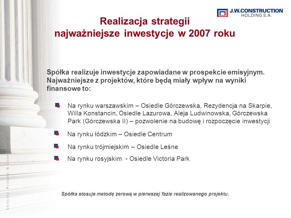 S t r i c t l y P r i v a t e & C o n f i d e n t i a l Realizacja strategii najważniejsze inwestycje w 2007 roku Spółka realizuje inwestycje zapowiad