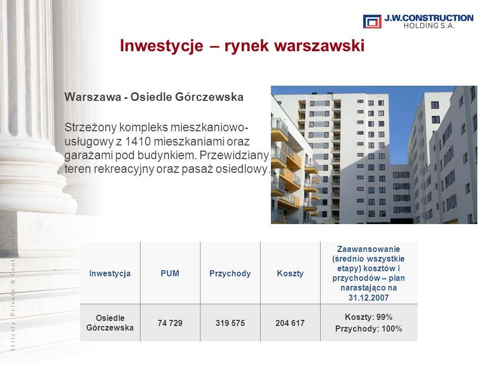 S t r i c t l y P r i v a t e & C o n f i d e n t i a l Warszawa - Osiedle Górczewska Strzeżony kompleks mieszkaniowo- usługowy z 1410 mieszkaniami or