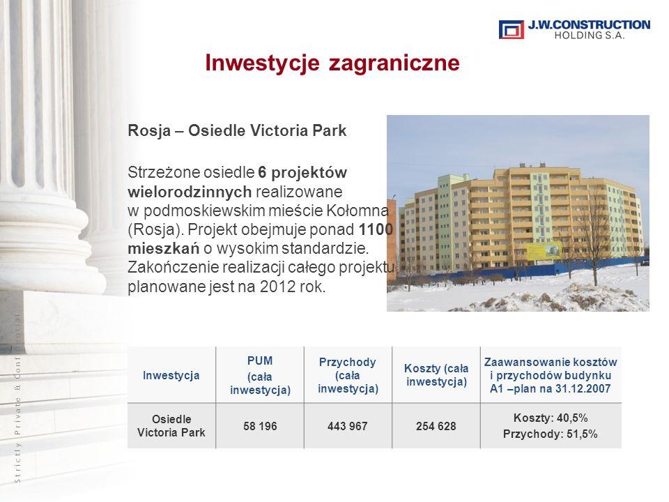 S t r i c t l y P r i v a t e & C o n f i d e n t i a l Inwestycje zagraniczne Rosja – Osiedle Victoria Park Strzeżone osiedle 6 projektów wielorodzinnych realizowane w podmoskiewskim mieście Kołomna (Rosja).