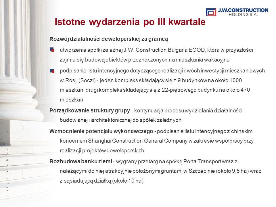 S t r i c t l y P r i v a t e & C o n f i d e n t i a l Rozwój działalności deweloperskiej za granicą utworzenie spółki zależnej J.W. Construction Buł