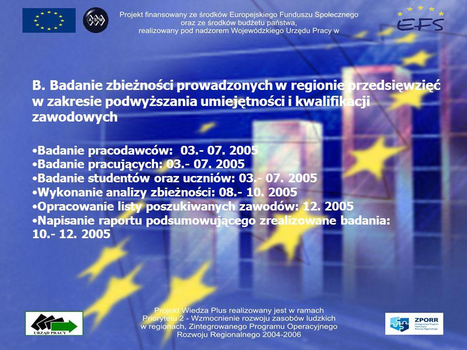 B. Badanie zbieżności prowadzonych w regionie przedsięwzięć w zakresie podwyższania umiejętności i kwalifikacji zawodowych Badanie pracodawców: 03.- 0