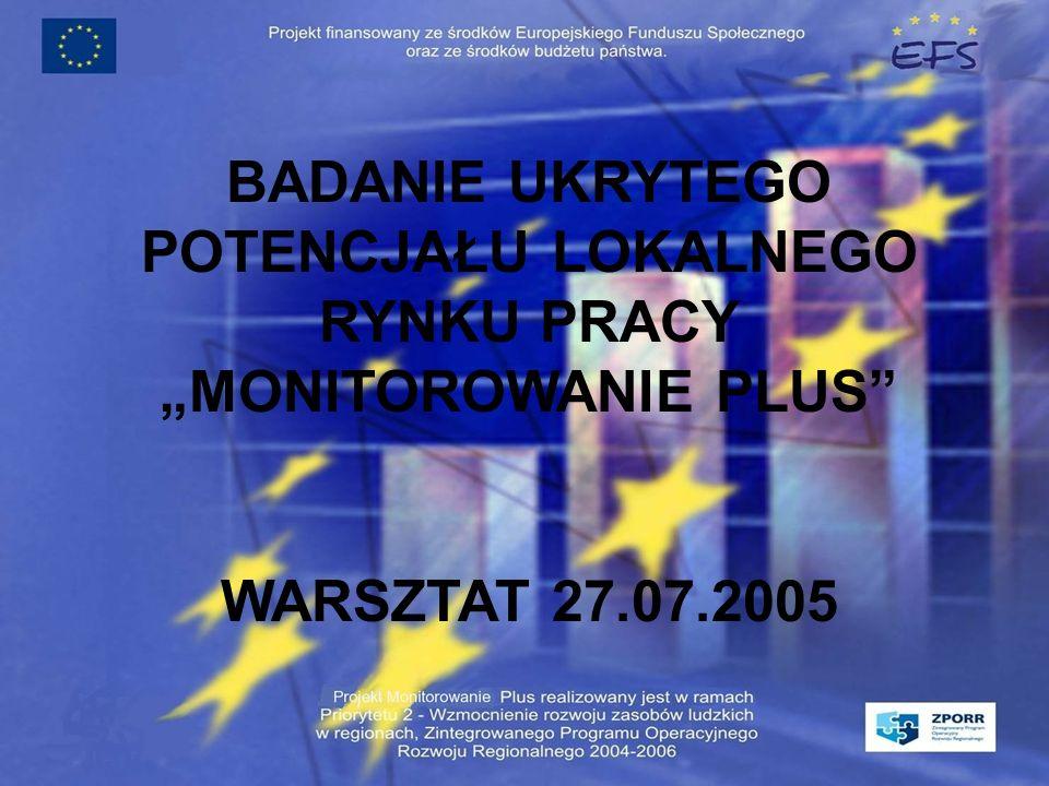 BADANIE UKRYTEGO POTENCJAŁU LOKALNEGO RYNKU PRACY MONITOROWANIE PLUS WARSZTAT 27.07.2005