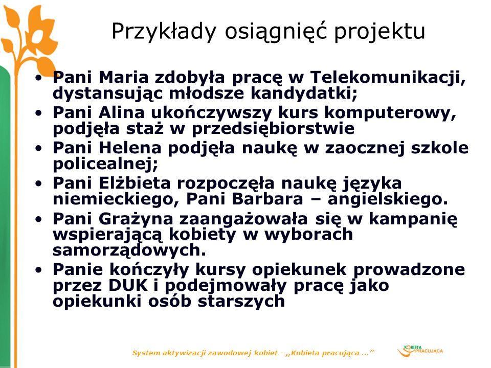 System aktywizacji zawodowej kobiet -,,Kobieta pracująca... Przykłady osiągnięć projektu Pani Maria zdobyła pracę w Telekomunikacji, dystansując młods