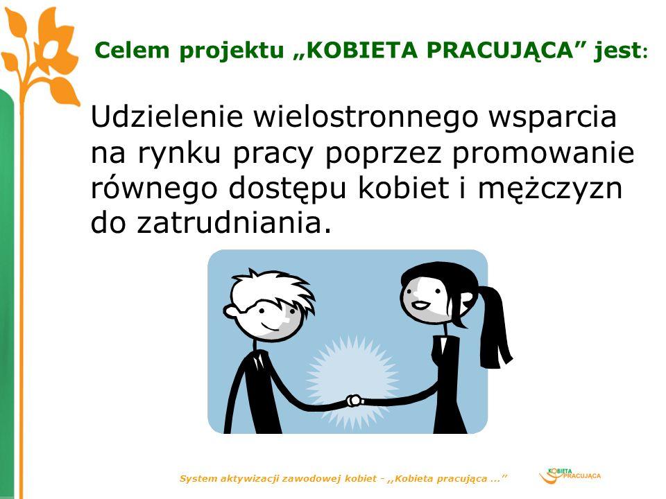 System aktywizacji zawodowej kobiet -,,Kobieta pracująca... Celem projektu KOBIETA PRACUJĄCA jest : Udzielenie wielostronnego wsparcia na rynku pracy