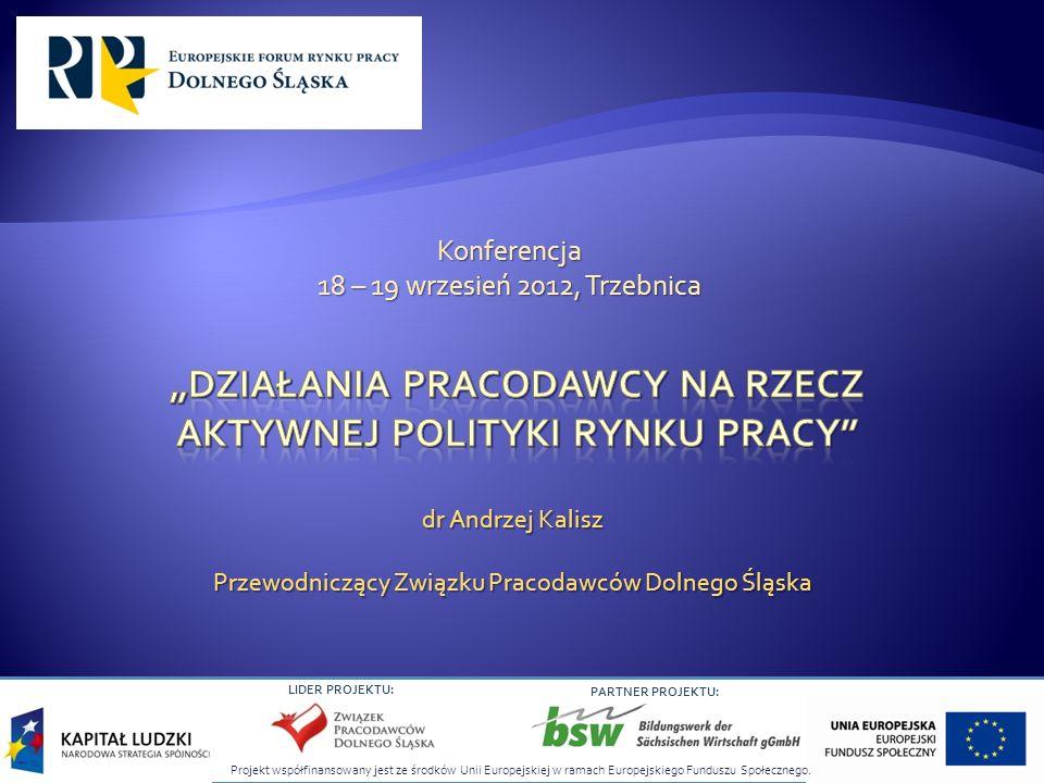 LIDER PROJEKTU: PARTNER PROJEKTU: dr Andrzej Kalisz Przewodniczący Związku Pracodawców Dolnego Śląska Konferencja 18 – 19 wrzesień 2012, Trzebnica