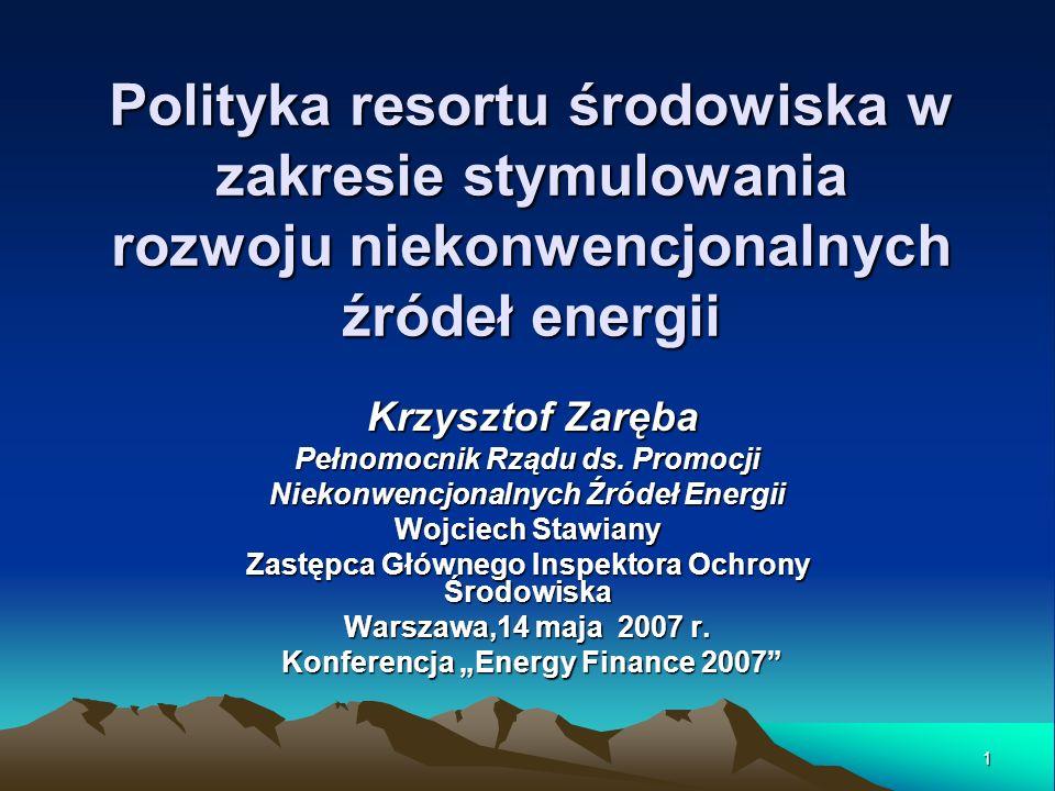 1 Polityka resortu środowiska w zakresie stymulowania rozwoju niekonwencjonalnych źródeł energii Krzysztof Zaręba Krzysztof Zaręba Pełnomocnik Rządu d