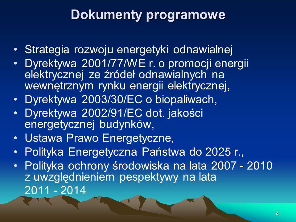 2 Dokumenty programowe Strategia rozwoju energetyki odnawialnej Dyrektywa 2001/77/WE r. o promocji energii elektrycznej ze źródeł odnawialnych na wewn