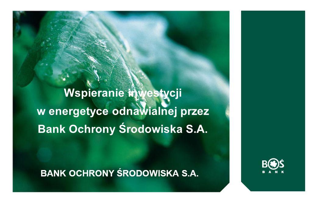 BANK OCHRONY ŚRODOWISKA S.A. Wspieranie inwestycji w energetyce odnawialnej przez Bank Ochrony Środowiska S.A.