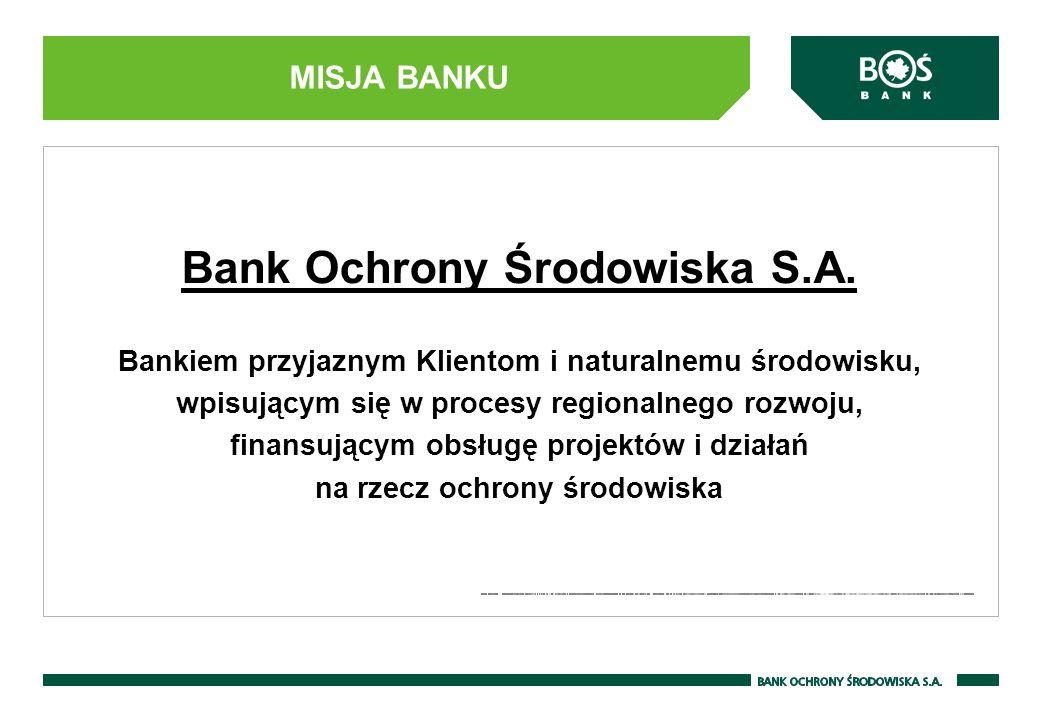 MISJA BANKU Bank Ochrony Środowiska S.A. Bankiem przyjaznym Klientom i naturalnemu środowisku, wpisującym się w procesy regionalnego rozwoju, finansuj
