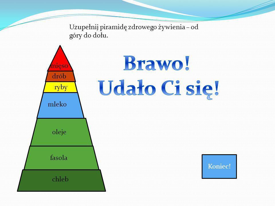 Uzupełnij piramidę zdrowego żywienia – od góry do dołu.