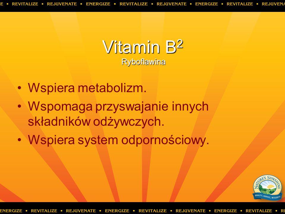Vitamin B 2 Ryboflawina Wspiera metabolizm. Wspomaga przyswajanie innych składników odżywczych. Wspiera system odpornościowy.