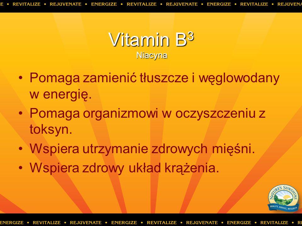 Vitamin B 3 Niacyna Pomaga zamienić tłuszcze i węglowodany w energię. Pomaga organizmowi w oczyszczeniu z toksyn. Wspiera utrzymanie zdrowych mięśni.