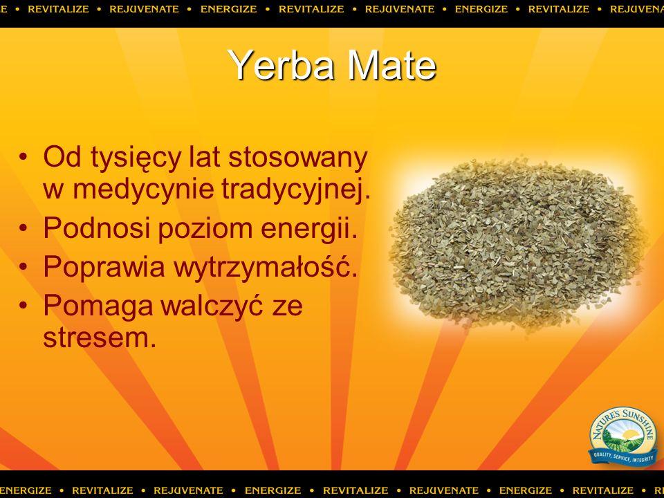 Yerba Mate Od tysięcy lat stosowany w medycynie tradycyjnej. Podnosi poziom energii. Poprawia wytrzymałość. Pomaga walczyć ze stresem.
