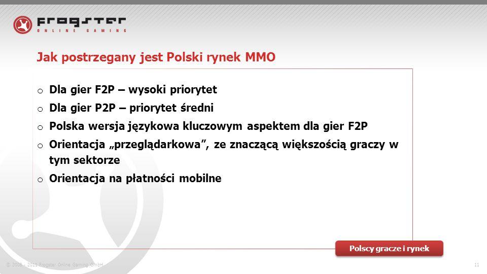 © 2008 - 2011 Frogster Online Gaming GmbH.11 Jak postrzegany jest Polski rynek MMO o Dla gier F2P – wysoki priorytet o Dla gier P2P – priorytet średni o Polska wersja językowa kluczowym aspektem dla gier F2P o Orientacja przeglądarkowa, ze znaczącą większością graczy w tym sektorze o Orientacja na płatności mobilne Polscy gracze i rynek