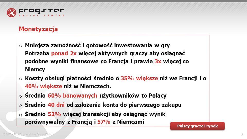 © 2008 - 2011 Frogster Online Gaming GmbH.14 Monetyzacja o Mniejsza zamożność i gotowość inwestowania w gry Potrzeba ponad 2x więcej aktywnych graczy aby osiągnąć podobne wyniki finansowe co Francja i prawie 3x więcej co Niemcy o Koszty obsługi płatności średnio o 35% większe niż we Francji i o 40% większe niż w Niemczech.