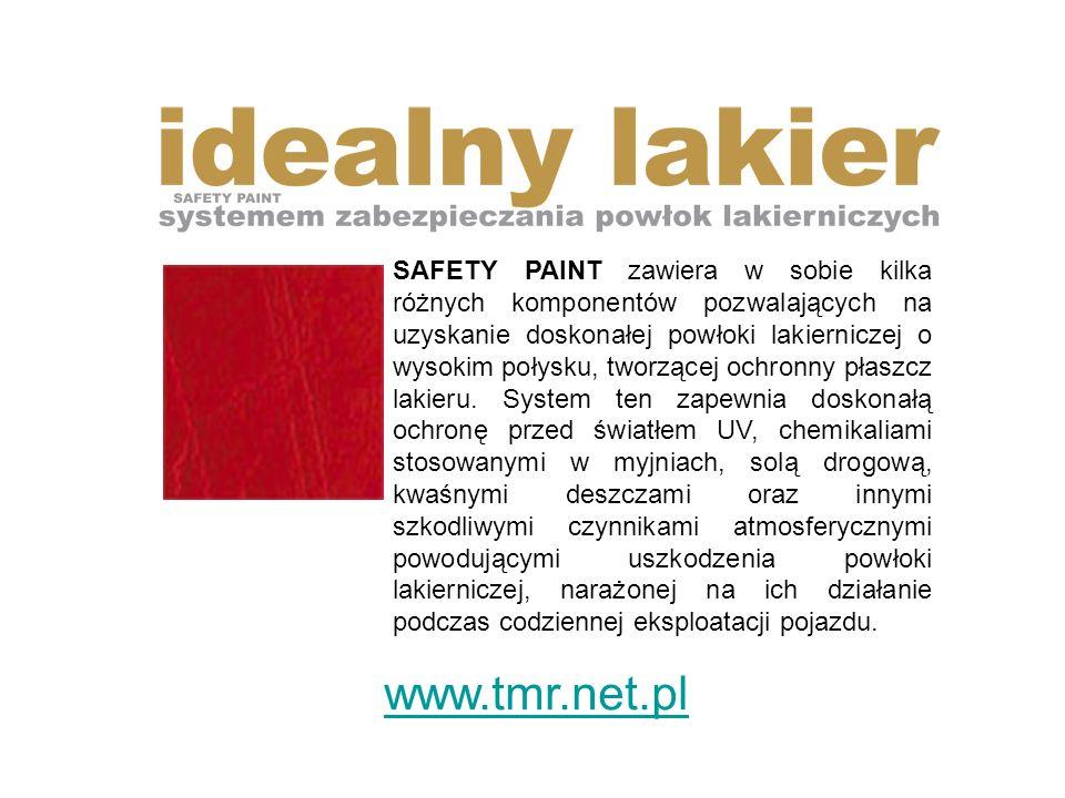 SAFETY PAINT zawiera w sobie kilka różnych komponentów pozwalających na uzyskanie doskonałej powłoki lakierniczej o wysokim połysku, tworzącej ochronny płaszcz lakieru.