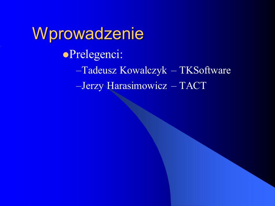 Wprowadzenie Prelegenci: –Tadeusz Kowalczyk – TKSoftware –Jerzy Harasimowicz – TACT