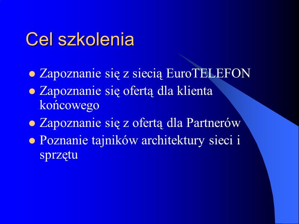 Cel szkolenia Zapoznanie się z siecią EuroTELEFON Zapoznanie się ofertą dla klienta końcowego Zapoznanie się z ofertą dla Partnerów Poznanie tajników architektury sieci i sprzętu