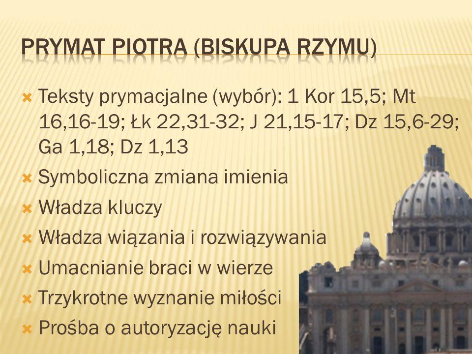 Teksty prymacjalne (wybór): 1 Kor 15,5; Mt 16,16-19; Łk 22,31-32; J 21,15-17; Dz 15,6-29; Ga 1,18; Dz 1,13 Symboliczna zmiana imienia Władza kluczy Wł