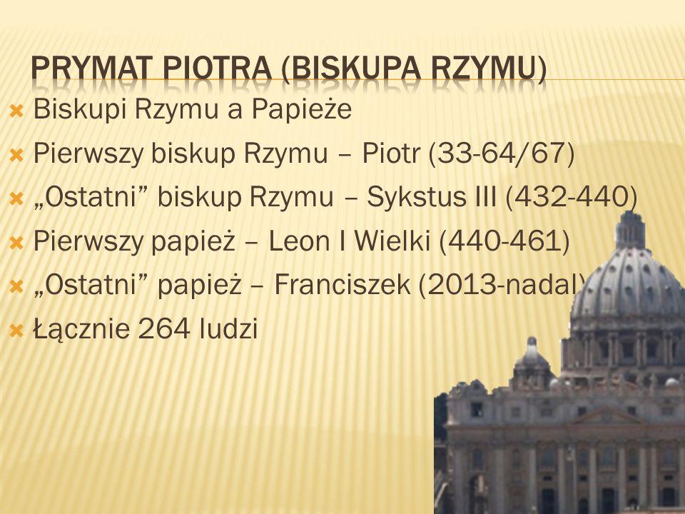 Biskupi Rzymu a Papieże Pierwszy biskup Rzymu – Piotr (33-64/67) Ostatni biskup Rzymu – Sykstus III (432-440) Pierwszy papież – Leon I Wielki (440-461