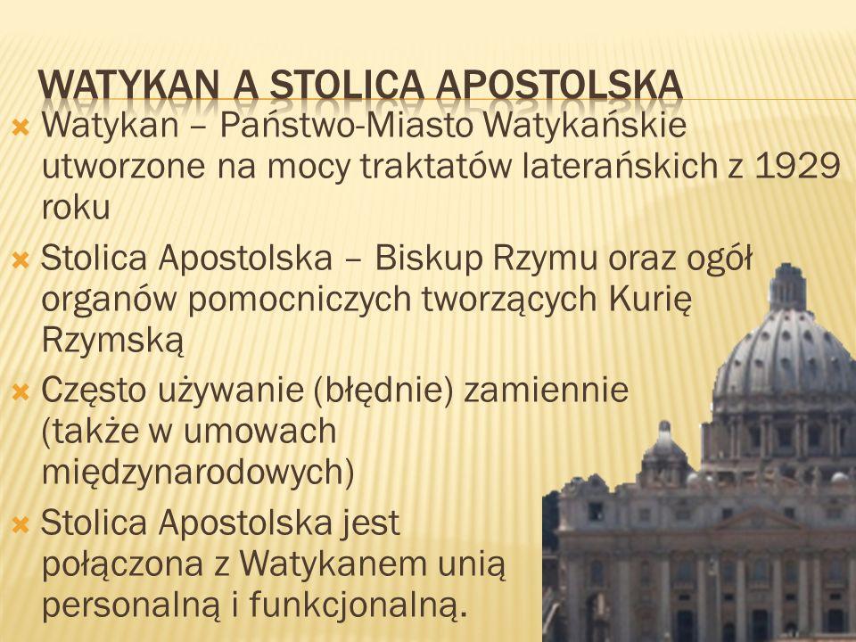 Watykan – Państwo-Miasto Watykańskie utworzone na mocy traktatów laterańskich z 1929 roku Stolica Apostolska – Biskup Rzymu oraz ogół organów pomocnic