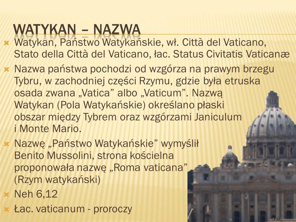 Watykan, Państwo Watykańskie, wł. Città del Vaticano, Stato della Città del Vaticano, łac. Status Civitatis Vaticanæ Nazwa państwa pochodzi od wzgórza